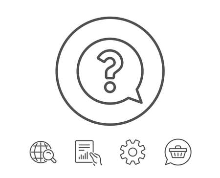 Question mark line icon. Help speech bubble sign. FAQ symbol. Hold Report, Service and Global search line signs. Shopping cart icon. Editable stroke. Vector