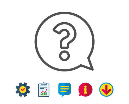 Question mark line icon. Help speech bubble sign. FAQ symbol. Report, Service and Information line signs. Download, Speech bubble icons. Editable stroke. Vector