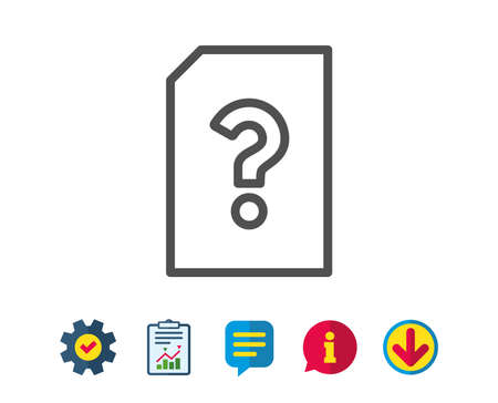 Unknown Document line icon. File with Question mark sign. Untitled Paper page concept symbol. Report, Service and Information line signs. Download, Speech bubble icons. Editable stroke. Vector