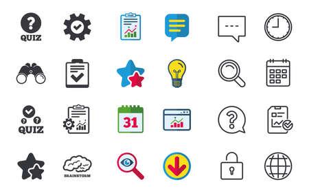 Quiz icons  Human brain think  Checklist with check mark symbol