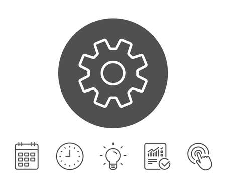 Cogwheel line icon. Service sign. Transmission Rotation Mechanism symbol. Report, Clock and Calendar line signs. Light bulb and Click icons. Editable stroke. Vector