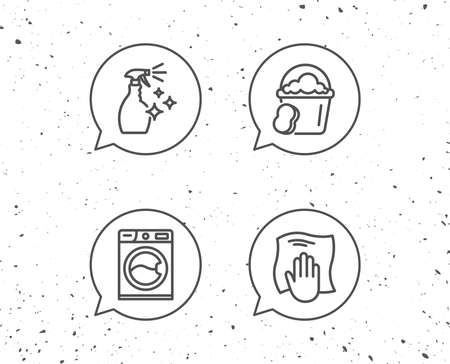 Illustration pour Speech bubbles with cleaning symbols. - image libre de droit