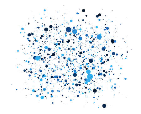 Abstract Blue Circles background. Random positioning of elements. Creative geometric backdrop. Colored dotted or bubbles design.