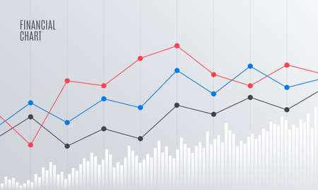 Illustration for Abstract Financial Chart with Line Graph in Stock exchange market. Statistics uptrend. Analytics Data Report. Vector illustration. - Royalty Free Image