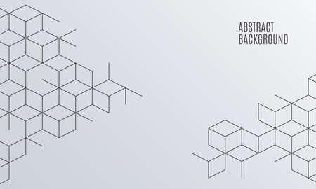 Ilustración de Vector abstract boxes background. Modern illustration with square mesh. Cube cell. Digital geometric abstraction with lines. Vector Illustration. - Imagen libre de derechos
