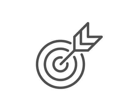 Illustration pour Target line icon. Marketing targeting strategy symbol. Aim with arrows sign. Quality design element. Editable stroke. Vector - image libre de droit