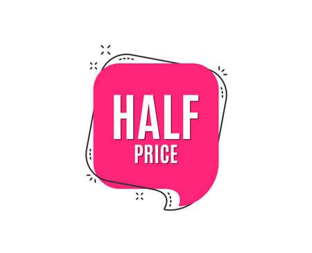 Ilustración de Half Price. Special offer Sale sign. Advertising Discounts symbol. Speech bubble tag. Trendy graphic design element. Vector - Imagen libre de derechos