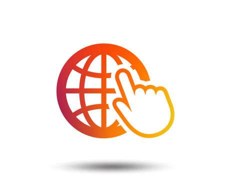 Internet sign icon. World wide web symbol. Cursor pointer. Blurred gradient design element. Vivid graphic flat icon. Vector