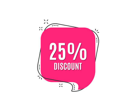 Ilustración de 25% Discount. Sale offer price sign. Special offer symbol. Speech bubble tag. Trendy graphic design element. Vector - Imagen libre de derechos