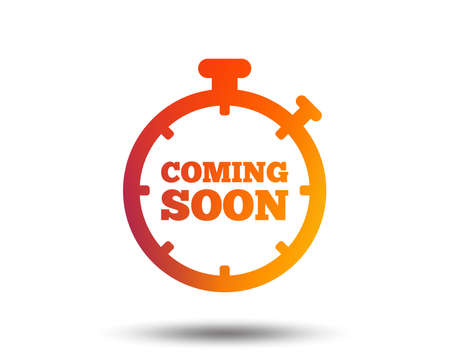 Ilustración de Coming soon sign icon. Promotion announcement symbol. Blurred gradient design element. Vivid graphic flat icon. Vector - Imagen libre de derechos