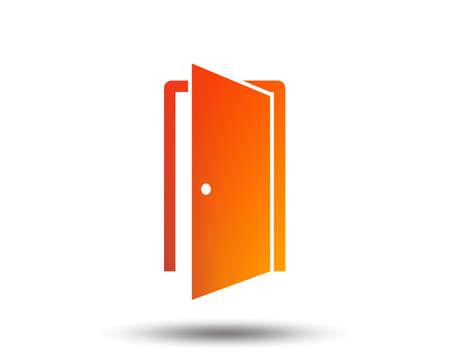 Door sign icon. Enter or exit symbol. Internal door. Blurred gradient design element. Vivid graphic flat icon. Vector