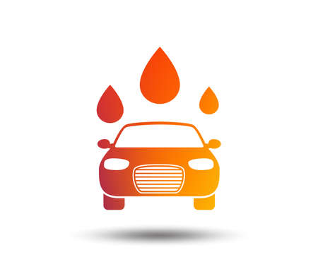 Automated teller carwash symbol. Water drops signs. Blurred gradient design element. Vivid graphic flat icon. Vector