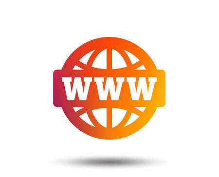 WWW sign icon. World wide web symbol. Globe. Blurred gradient design element. Vivid graphic flat icon.