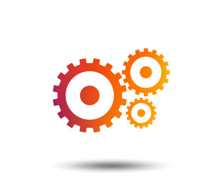 Illustration pour Cog settings sign icon. Cogwheel gear mechanism symbol. Blurred gradient design element. Vivid graphic flat icon. Vector - image libre de droit