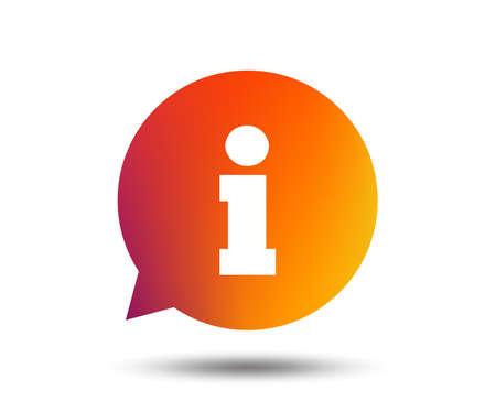 Illustration pour Information sign icon. Info speech bubble symbol. Blurred gradient design element. Vivid graphic flat icon. Vector - image libre de droit