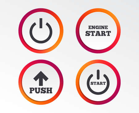 Ilustración de Power icons. Start engine symbol. Push or Press arrow sign. Infographic design buttons. Circle templates. Vector - Imagen libre de derechos
