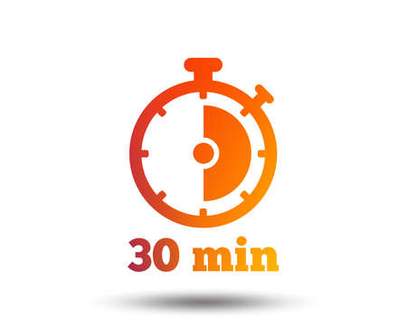 Ilustración de Timer sign icon. 30 minutes stopwatch symbol. Blurred gradient design element. Vivid graphic flat icon. Vector - Imagen libre de derechos