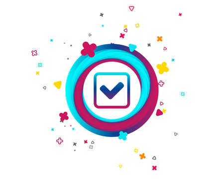 Check mark sign icon. Yes square symbol. Confirm approved. Colorful button with icon. Geometric elements. Vector