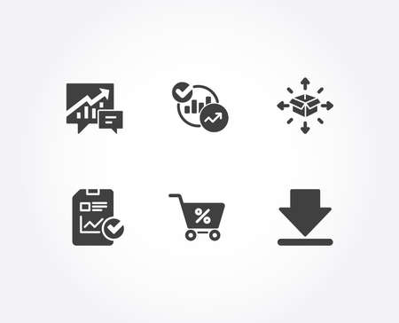 Illustration pour Set of Parcel delivery, Statistics and Report checklist icons. Accounting, Special offer and Downloading signs. Logistics service, Report charts, Sales growth file. Vector - image libre de droit