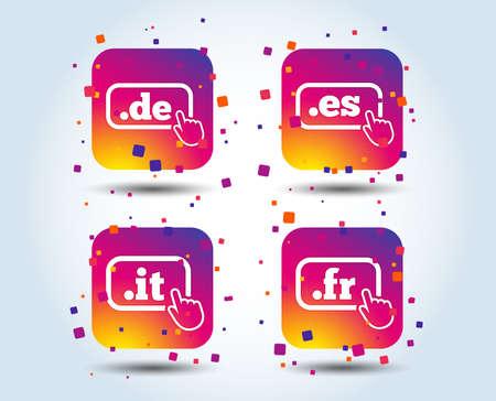 Top-level internet domain icons. De, It, Es and Fr symbols with hand pointer. Unique national DNS names. Colour gradient square buttons. Flat design concept. Vector