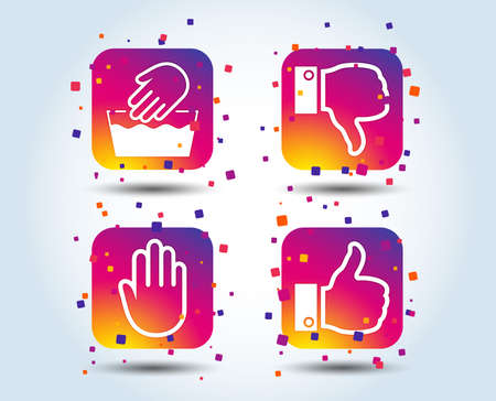 Hand icons. Like and dislike thumb up symbols. Not machine washable sign. Stop no entry. Colour gradient square buttons. Flat design concept. Vector
