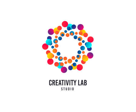 Ilustración de Creativity lab logo. Bubbles or Dots vector icon. Creative design studio logo. Business company brand sign. Minimalistic modern creativity graphic logotype. Typography template. - Imagen libre de derechos