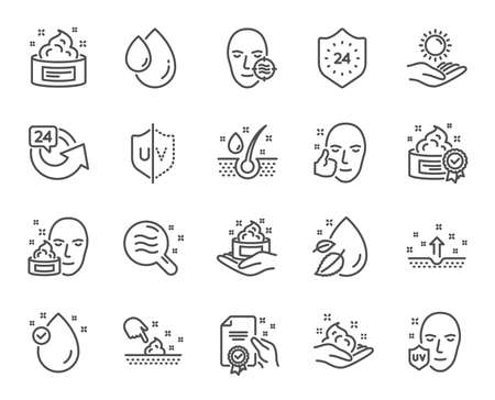 Illustration for Skin care line icons. Set of Cream, Serum drop and Face gel or lotion linear icons. Oil, Vitamin E and Collagen symbols. 24 hour face care protection. Medical skin cosmetic signs. Vector - Royalty Free Image