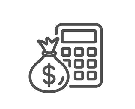 Illustration pour Calculator with money bag line icon. Accounting sign. Calculate finance symbol. Quality design element. Classic style. Editable stroke. Vector - image libre de droit