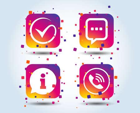 Ilustración de Check or Tick approve icon. Phone call and Information signs. Support communication chat bubble symbol. Colour gradient square buttons. Flat design approve concept. Vector - Imagen libre de derechos
