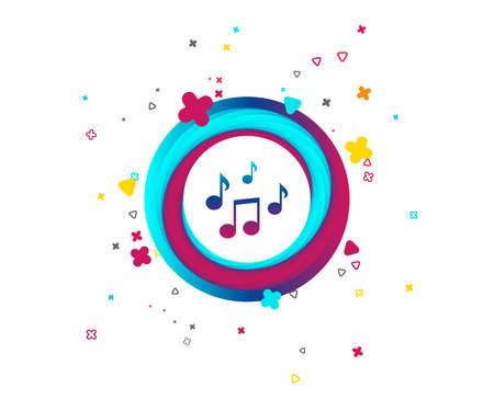 Illustration pour Music notes sign icon. Musical symbol. Colorful button with icon. Geometric elements. Vector - image libre de droit