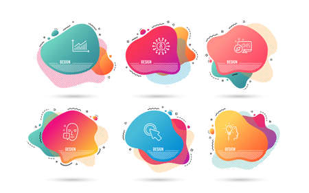 Illustration pour Dynamic liquid shapes. Set of Idea, Click here and Face attention icons. Graph sign. Professional job, Push button, Exclamation mark. Presentation diagram.  Gradient banners. Fluid abstract shapes - image libre de droit