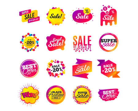 Ilustración de Sale banner templates design. Special offer tags. Cyber monday sale discounts. Black friday shopping icons. Best ultimate offer. Super shopping discount icons. Vector - Imagen libre de derechos