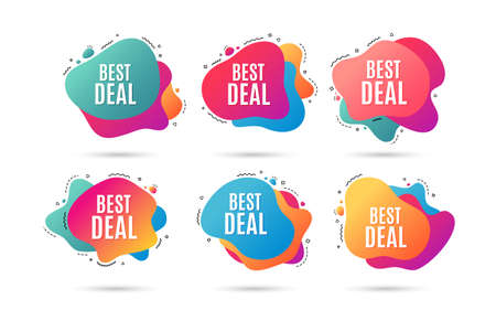 Illustration pour Best deal. Special offer Sale sign. Advertising Discounts symbol. Abstract dynamic shapes with icons. Gradient best deal banners. Liquid abstract shapes. Vector - image libre de droit