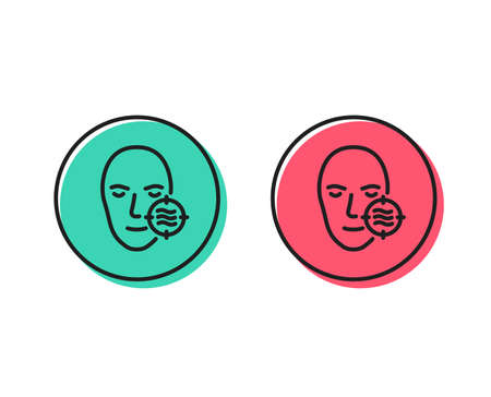 Problem face skin line icon. Need facial care sign. Target symbol. Positive and negative circle buttons concept. Good or bad symbols. Problem skin Vector
