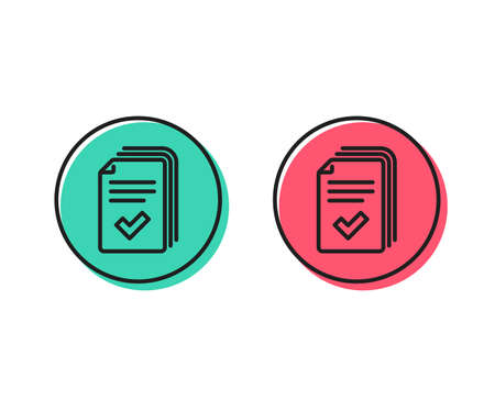 Handout line icon. Documents example sign. Positive and negative circle buttons concept. Good or bad symbols. Handout Vector