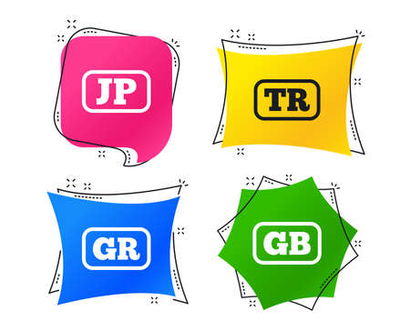 Language icons. JP, TR, GR and GB translation symbols. Japan, Turkey, Greece and England languages. Geometric colorful tags. Banners with flat icons. Trendy design. Vector