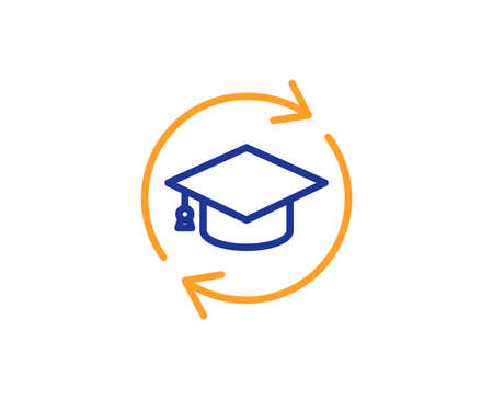Illustration pour Continuing education line icon. Online education sign. Colorful outline concept. Blue and orange thin line color icon. Continuing education Vector - image libre de droit