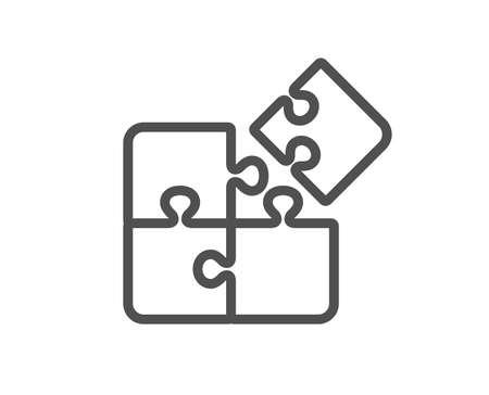 Illustration pour Puzzle line icon. Engineering strategy sign. Quality design flat app element. Editable stroke Puzzle icon. Vector - image libre de droit