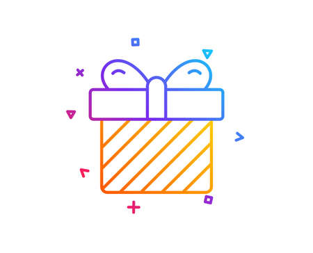 Gift box line icon. Present or Sale sign. Birthday Shopping symbol. Package in Gift Wrap. Gradient line button. Surprise icon design. Colorful geometric shapes. Vector