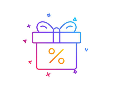 Gift box with Percentage line icon. Present or Sale sign. Birthday Shopping symbol. Package in Gift Wrap. Gradient line button. Discount offer icon design. Colorful geometric shapes. Vector