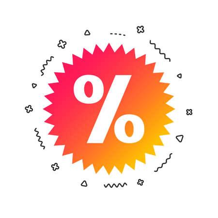 Discount percent sign icon. Star symbol. Colorful geometric shapes. Gradient sale icon design.  Vector
