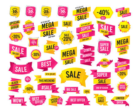 Illustration for Sale banner. Super mega discount. Sale discount icons. Special offer stamp price signs. 10, 20, 25 and 30 percent off reduction symbols. Black friday. Cyber monday discount. Vector - Royalty Free Image