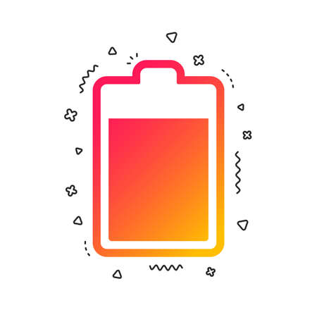 Illustration pour Battery level sign icon. Electricity symbol. Colorful geometric shapes. Gradient battery icon design.  Vector - image libre de droit