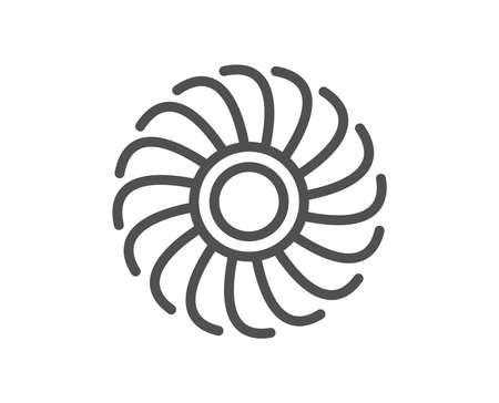 Ilustración de Fan engine line icon. Jet turbine sign. Ventilator symbol. Quality design flat app element. Editable stroke Fan engine icon. Vector - Imagen libre de derechos