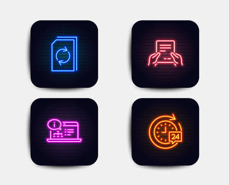 Neon set of Update document, Receive file and Online documentation icons. 24h delivery sign. Refresh file, Hold document, Web engineering. Stopwatch. Neon icons. Glowing light banners
