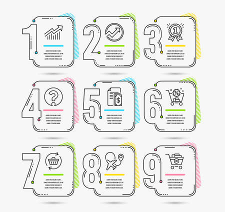 Ilustración de Timeline infographic. Set of Refresh cart, Airplane and Shopping cart icons. Demand curve, Question mark and Reward signs. Audit, Payment and Remove purchase symbols. Vector - Imagen libre de derechos