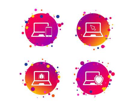 Illustration pour Notebook laptop pc icons. Virus or software bug signs. Shield protection symbol. Mouse cursor pointer. Gradient circle buttons with icons. Random dots design. Vector - image libre de droit