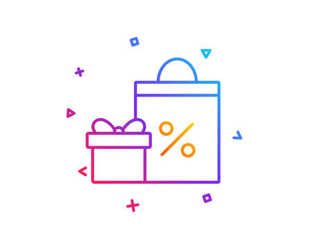 Gift box with Shopping bag line icon. Present or Sale sign. Birthday Shopping with Discounts symbol. Package in Gift Wrap. Gradient line button. Shopping icon design. Colorful geometric shapes. Vector