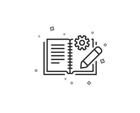 Engineering documentation line icon. Technical instruction sign. Geometric shapes. Random cross elements. Linear Engineering documentation icon design. Vector