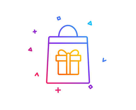 Shopping bag with Gift box line icon. Present or Sale sign. Birthday Shopping symbol. Package in Gift Wrap. Gradient line button. Holidays shopping icon design. Colorful geometric shapes. Vector